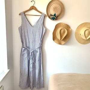 Beachlunchlounge blue white striped linen jumpsuit